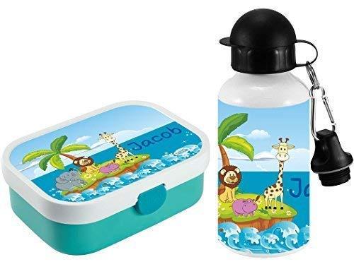 *Mein Zwergenland Brotdose Mepal Campus mit Bento Box und Gabel und Alu-Trinkflasche mit eigenem Namen Tierinsel (türkis)*