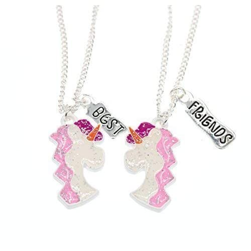 Girls BFF Best Friends Silver Pink Sparkling Unicorn Necklace Pendant Set Gift