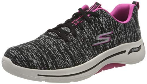 Skechers Damen GO WALK ARCH FIT Sneaker, Schwarzer Textil mit pinkfarbenem Rand, 41 EU