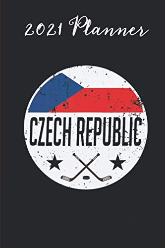 2021 Planner - czech republic ice hockey flag jersey supporter fan gift: Daily planner 2021, US map, US holiday, 6x9 inch, 136 pages