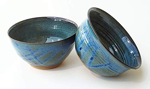 Handmade Ceramic Cereal Bowl with Floating Blue and Sapphire Glazes