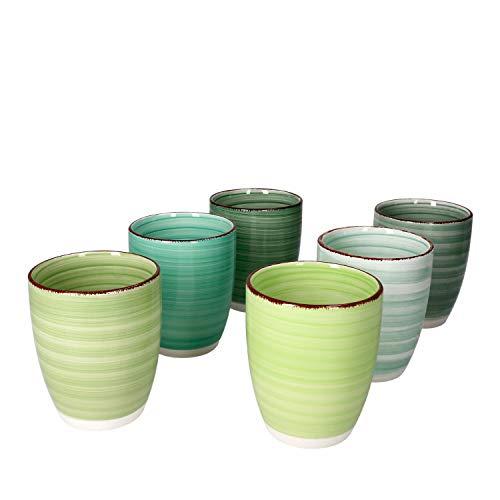 MamboCat Green Baita Kaffeebecher ohne Henkel I 6er Set Steingut-Tasse groß mit Strudel-Dekor - in tollen Grüntönen I Tea & Coffee Mug - moderner Landhaus-Stil I Kaffee-Tassen bunt 300 ml 6 Stück