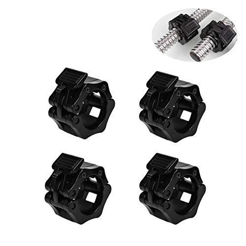 1 Inch Barbell Clamps - Quick Release Pair of Locking 1'' Diameter Standard Bar Weight Plates Adjustables dumbbell Collar Clips for Workout Weightlifting Fitness Training Bodybuilding. (black)
