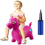 HAOMARK Hopping Animal Toy Inflatable Bouncy Horse Hopper with Pump for Kids Toddlers Jumping & Ride (Rose Red)