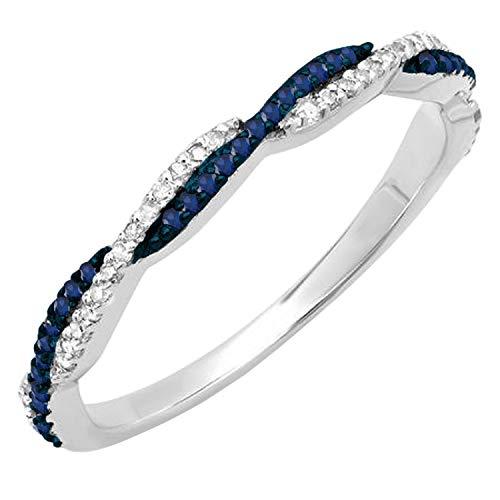 Blue Sapphire & White Diamond Band