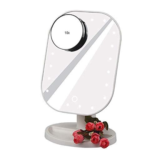 Make-upspiegel LED tafellamp verlicht met touchschakelaar 10-voudige vergroting spiegel cosmetica draaibaar verstelbaar nachtlampje Wit