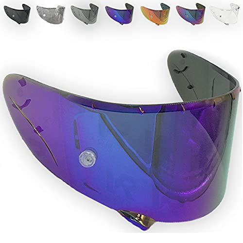 VRacing Shoei Nxr Visier Ryd X-Spirit III 3 Helmvisier Cwr 1 Helm Aftermarket Pinlock e Tear off Ready (Blau Chrome)