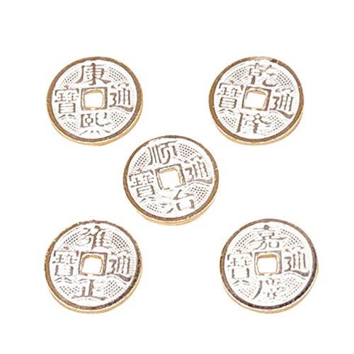 Artibetter 5 Piezas Monedas Chinas Feng Shui Monedas de Fortuna de Plata I-Ching Monedas Espaciadoras Cuentas Suministros de Bricolaje para El Hogar Artesanía Joyería Haciendo Decoración