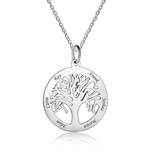 Bo&Pao Kette Lebensbaum mit Gravur 925 Sterling Silber, Baum Kette mit Gravur, personalisierte Familien Stammbaum Kette