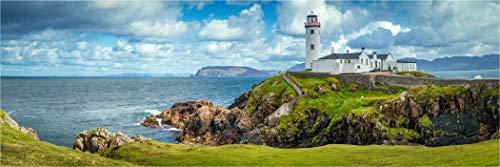 Bis 3 Meter Breite! XXL Panorama Glasbild, Panoramafoto Leuchtturm am Fanad Head Irland, als Exklusive Wanddeko Wandbild, Bild in Galerie Qualität auf Sicherheitsglas inkl. Aufhängung