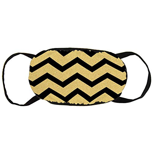 Gouden glittering Chevron Wave Seamless Patroon Cotton Gezichtsmasker Mouth met design Fashion Anti Dusk Face Maks Earloops Herbruikbaar Mouth Muffle Mask