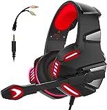 Audífonos Gamer con Micrófono para PS4 PS5 Xbox One Series PC Mac Tablet Celulares, Con cancelación de ruido, Luz LED, Control de volumen, Gaming Headset con silenciador de micrófono
