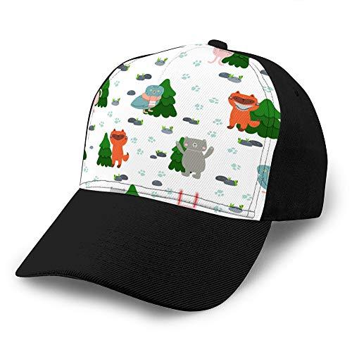 Hip Hop Gorra de béisbol Sombrero de ala Plana Ajustable Outdr Sport Gorra de béisbol Unisex de Dibujos Animados Lindos Animales Divertidos Bear Bunny Fox Owl Printing Cowboy Hat