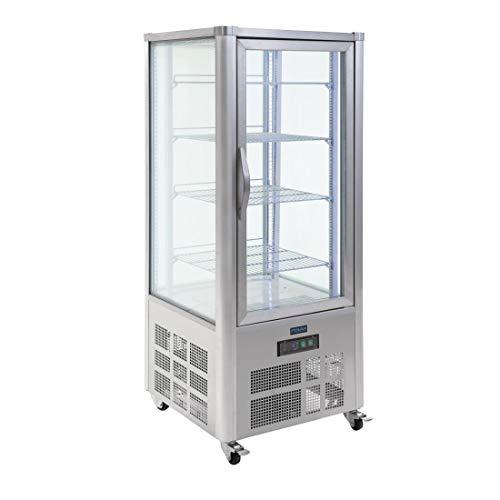 Polar pastelería vitrina 400L, acero inoxidable comercial frigorífico