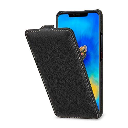 StilGut Slim Vertical Flip Case for Huawei Mate 20 Pro, Genuine Leather Huawei Mate 20 Pro Case, Black
