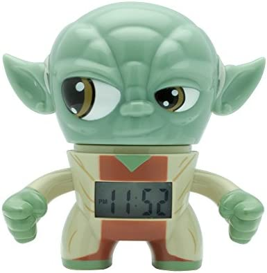 BulbBotz Star Wars 2020206 Yoda Kids Light up Alarm Clock Green Brown Plastic 3 5 inches Tall product image