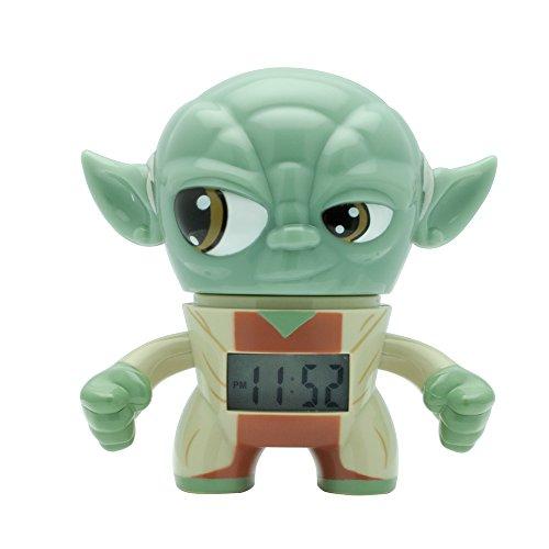 BulbBotz Star Wars 2020206 Yoda - Reloj despertador con luz para niños, color verde/marrón, plástico, 3,5 pulgadas de alto, pantalla LCD, niño y niña, oficial