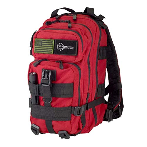 Open Carry Outdoors Emergency Survival Kit Backpack – Military Grade Survival Gear Bag (Red)