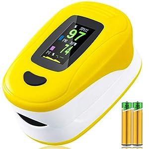 Monitor de saturación de oxígeno,pulsioxímetro de frecuencia cardíaca,monitor de oxígeno en sangre de dedo Sp02,Oxímetro portátil de alta precisión para niños adultos (Amarillo)