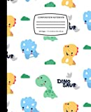 Cute Dinosaurs Cartoon T-Rex, Diplodocus And Triceratops: Dinosaur Composition Notebook Journal for Kids, Teens, Adult | 120 Pages | Wide Ruled | 7.5 x 9.25