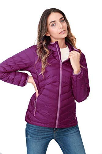 CAMEL CROWN Women's Lightweight Hooded Down Jacket Packable Puffer Insulated Coats S Purple