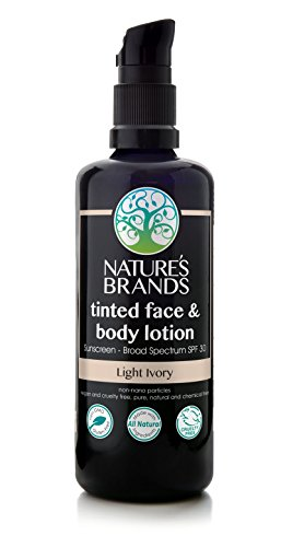 Natural SPF-30 Tinted Face & Body Lotion by Herbal Choice Mari (Light Ivory, 3.4 Fl Oz Glass Bottle) - Made with Organic Ingredients - No Toxic Synthetic Chemicals - TSA-Approved Travel Size