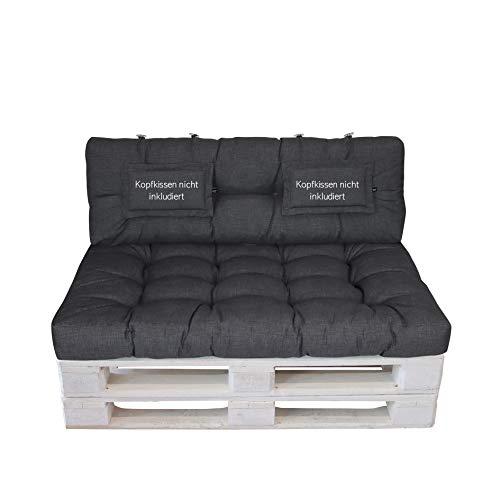 LILENO HOME Palettenkissen Set Anthrazit - Set 1: (1x Sitzteil + 1x Rückenteil) - Polster für Europaletten - Palettenkissen Outdoor als Sitzkissen für Palettenmöbel