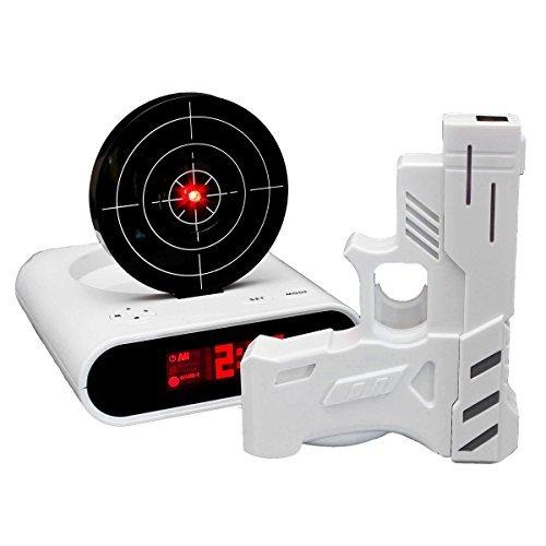 GOODS+GADGETS LCD Digital-Wecker mit Zielscheibe und Infrarot Pistole Gadget Action Alarm Clock