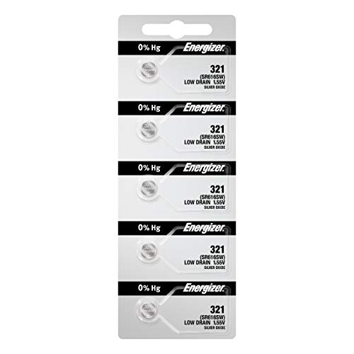 5 321 Energizer Watch Batteries SR616SW Battery Cell (5 Batteries Per Pack)