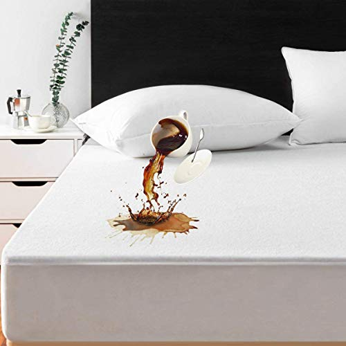 MASVIS Waterproof Terry Towel Mattress Protector Hypoallergenic Topper Cover with Deep Skirt (Single)