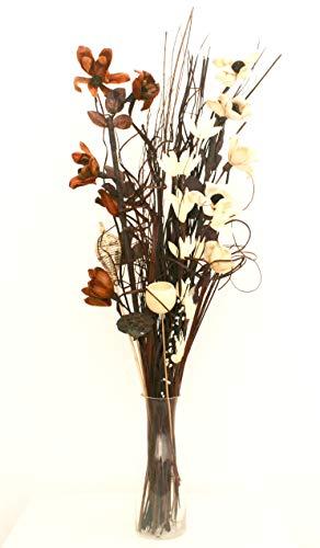 Bouquet di fiori artificiali ed essiccati, alto 90 cm, pronto per un vaso (marrone e crema)