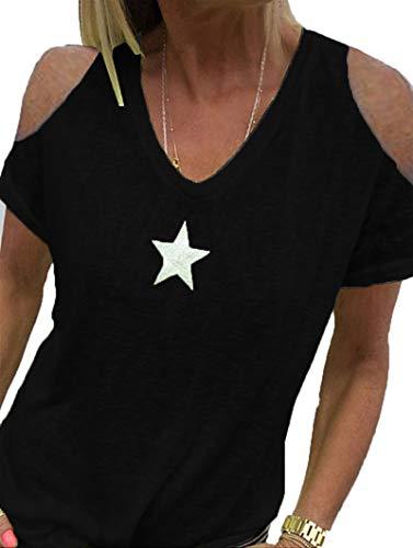 SLYZ Señoras Verano Estrella De Cinco Puntas Impresión Suelta Sin Tirantes De Manga Corta Camiseta Moda Mujer Top