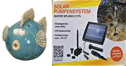 powershop11 Wasserspeier Kugelfisch 12 cm mit Solar