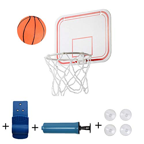 Foldable, portable and durable basketball hoop, suspension free punch mini plastic basketball frame with 4 suction cups and one clip, for indoors or outdoors play, with one PVC ball and one pump