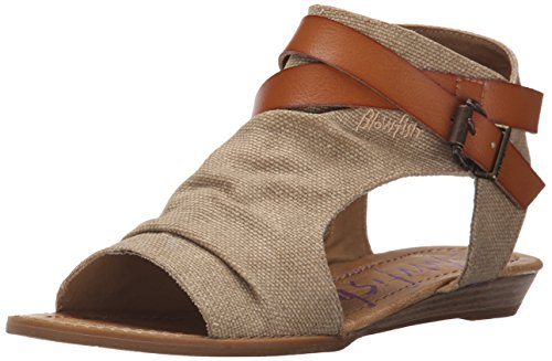 Blowfish Malibu Women's Balla Wedge Sandal, Desert Sand Rancher Canvas/Dyecut, 6.5 Medium US