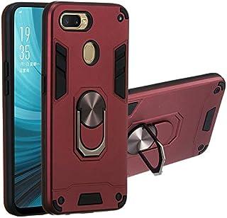 حافظة هاتف مع دعامة دائرية مضادة للصدمات غطاء هاتف واقي مزدوج متوافق مع هاتف Oppo A7/A5s/AX5s (داكن)