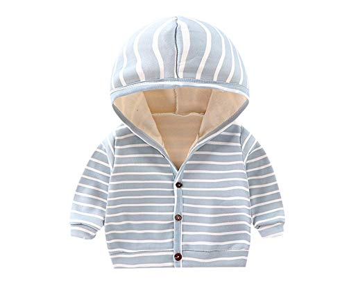 DCUTERQ Baby Jungen Mädchen Nette Streifen Taste unten Strickjacke Jacke Mantel Frühling Herbst Fleece Gefüttert Hoodie Oberbekleidung Tops Blau 0-6 Monate
