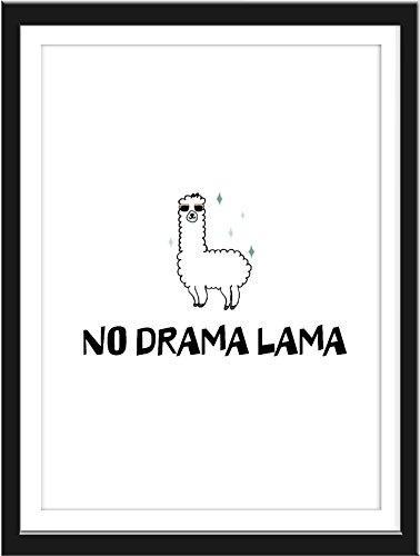 Wand-Bild No Dramalama lustiges Tier Poster mit Spruch A4