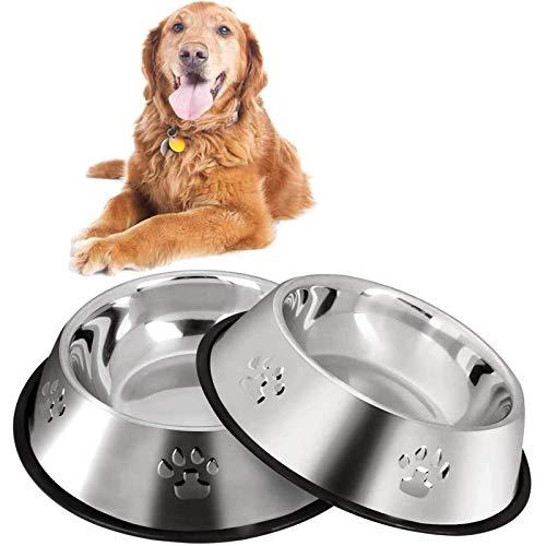 Funmo Ciotole per Cani Gatti,Ciotola in Acciaio Inox, 2 Pack Ciotola in Acciaio Inox con Tappetino Silicone Antiscivolo, Ciotola per Acqua e Cibo, Antiruggine, Antiscivolo