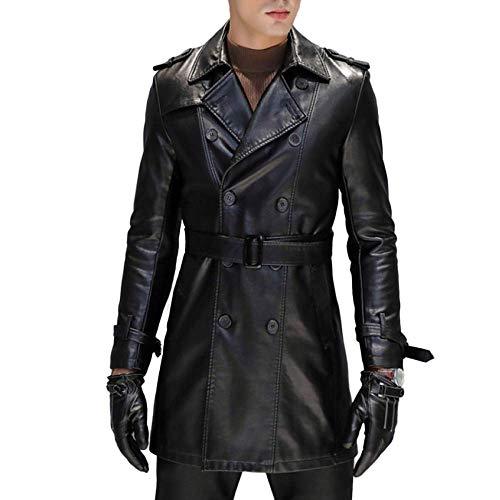 HX fashion Abrigo Hombre Moda De PU Cortavientos Chaqueta Cuero Chaqueta Tamaños Cómodos Slim Fit Gabardina Clásica Ropa Casual De Negocios Abrigo 2020 Ropa De Hombre (Color : Negro, One Size : M)