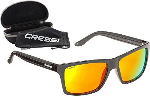 Cressi Unisex-Erwachsener Rio Sunglasses Premium Sport Sonnenbrille Polarisierte 100% UV-Schutz, Brillengestell Schwarz - Gelb Linsen, Einheitsgröße