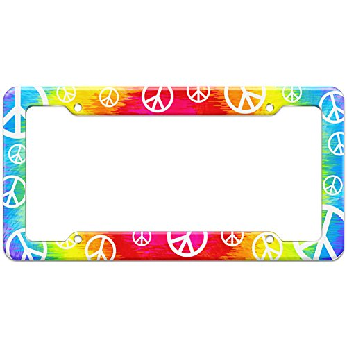 Graphics and More Blank Tie Dye Peace Hippie Rainbow Pattern License Plate Frame