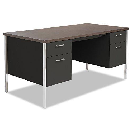 Alera ALESD6030BM Double Pedestal Steel Desk, Metal Desk, 60w x 30d x 29-1/2h, Walnut/Black