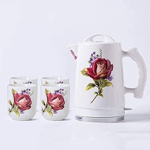 XBR Hervidor eléctrico de cerámica, Tetera de Agua inalámbrica de 1,7 litros, Apagado automático inalámbrico, té de preparación rápida, Sopa de café, Oficina en casa, Estilo Vintage