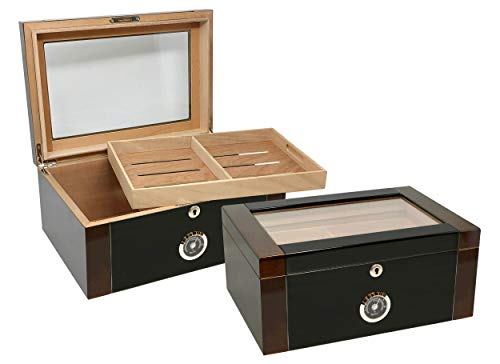 Prestige Import Group Berkeley II Two-Tone Glass Top Humidor - Up to 100 Capacity - Color: Mahogany & Black Lacquer