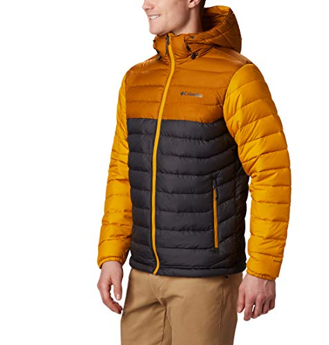 Columbia Herren Powder Lite Jacke mit Kapuze, Grau/Gelb (Shark, Burnished Amber), L