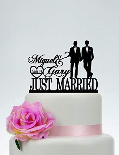 Decoración para tarta de boda con silueta de pareja gay, decoración para tarta con el mismo sexo, decoración para tarta gay, dos hombres de boda, boda gay, dos nombres de decoración C185