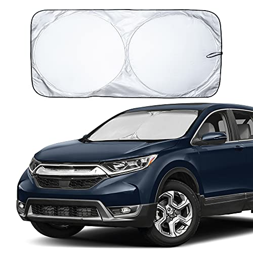 EcoNour Car Windshield Sun Shade with Storage Pouch | Durable 240T Material Car Sun Visor for UV Rays, Sun Heat Protection | Car Interior Accessories for Sun Heat | Medium Plus (64 inches x 34 inches)