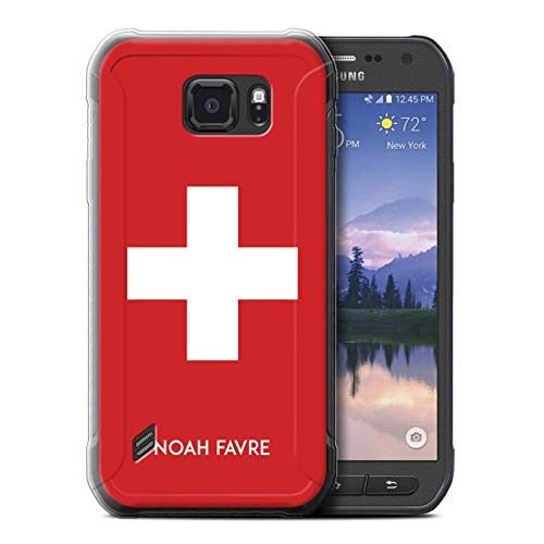 eSwish Personalisiert Persönlich National Nation Flagge 2 Gel/TPU Hülle für Samsung Galaxy S6 Active/G890 / Schweiz Schweizer Design/Initiale/Name/Text Schutzhülle/Hülle/Etui