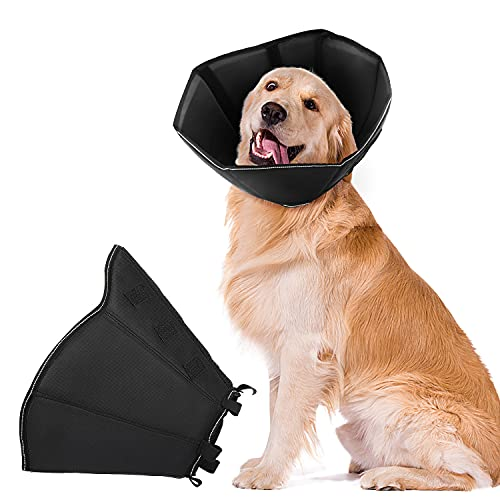 NA Dog Cone Collar for After Surgery, Soft Pet Recovery Collar for Dogs and Cats, Adjustable Cone Collar Protective Collar for Small Medium Large Dogs Wound Healing (Black, Large)